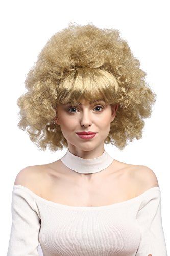 WIG ME UP - 2626-ZA89 Perücke Damen Karneval Fasching 60er 70er Funk Afro Locken mit glatten Pony blond