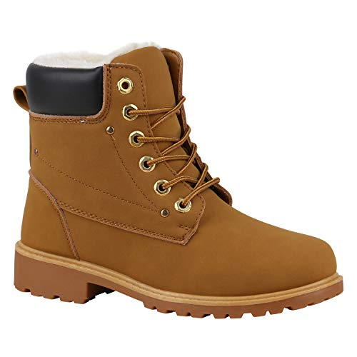 Stiefelparadies Warm Gefütterte Worker Boots Damen Outdoor Stiefeletten Robust 165967 Hellbraun Hellbraun Dunkelbraun 40 Flandell