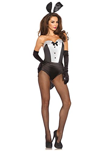 Kostüm Bunny Für Damen - LEG AVENUE 85467 - Classic Bunny Damen kostüm, Größe M (Schwarz-Weiß)