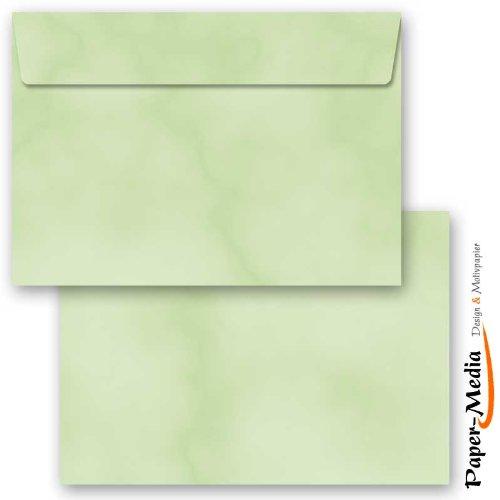 Motiv-Briefumschläge 25 Stück C6 (162x114 mm) ohne Fenster MARMOR GRÜN, Selbstklebend mit Abziehstreifen