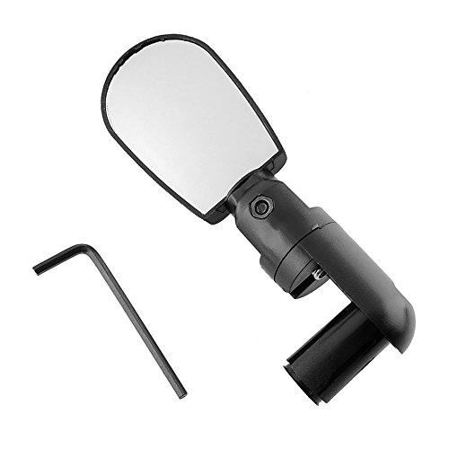 ZAK168 1 x Fahrrad-Rückspiegel, Verstellbarer Winkel, Lenker, Universal Fahrrad-Rückspiegel, Glas, Kleine Eisenstange, Schwarz, 6.5 * 4.3cm