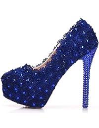 YAN Zapatos de tacón de Aguja de Las Mujeres Moda Tacones Altos Plataforma  Zapatos PU Vestido Zapatos Boda Fiesta… 5b62cb858561
