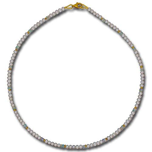 I be, perle di acqua dolce opal collana/catena Ø 4mm, chiusura a moschettone verschluss925in argento sterling placcato oro, lunghezza 42cm con custodia in regalo 44680445/800/45