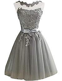 bc09f4644 Mallalah Mini Vestidos para Mujer Brillo con Encaje Princesa Vestido de  Noche de Tul Vestido de