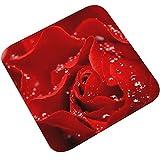 AMDXD Flanell Teppich Blumen Design Teppiche für Wohnzimmer Küche Bunt 45x45CM