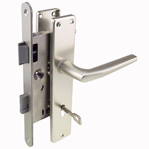 Zimmertür-Einsteckschloss Set 20x235 rund Din Links 55/72/8 Schild und Griffe F1