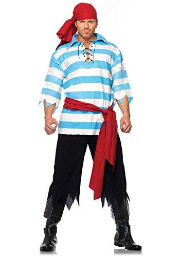 Leg Avenue 83663 - Pillaging Piraten Kostüm Set, Größe XL, blau/weiß
