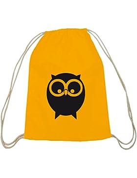 Shirtstreet24, EULE, Owl Natur Tiere Baumwoll natur Turnbeutel Rucksack Sport Beutel