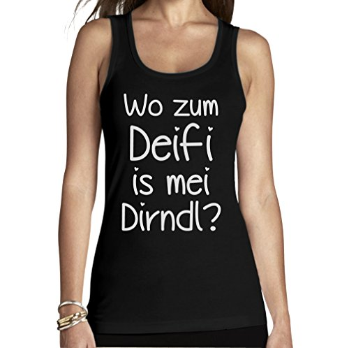 Oktoberfest Wiesn Trachten Shirt - Wo Zum Deifi is MEI Dirndl Frauen Tank Top Medium Schwarz