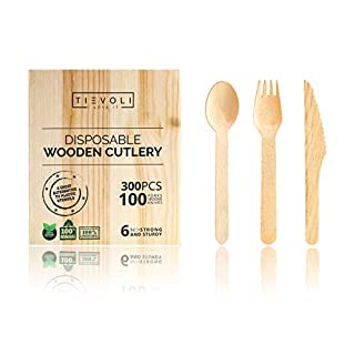 Disposable Wooden Cutlery - 300-Pack Eco-Friendly Forks, Knives and Spoons - Biodegradable Ecotableware - Plastic-Free & Safe - Ideal for Parties, Home Use, BBQ, Camping