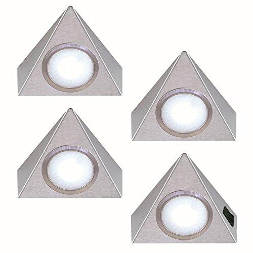 4-er Set Unterbauleuchte 4x 1,3 W Edelstahl Dreieckleuchte neutralweiss Regallampe Küchenleuchte *551910
