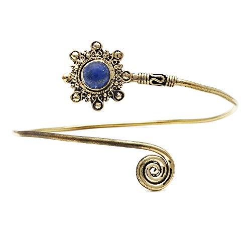 mantraroma Oberarmreif Oberarmband Messing golden Lapis Lazuli blau Stein (10)