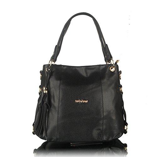 koson-man-womens-classical-vintage-soft-leather-zipper-tote-bags-shoulder-bagsblack