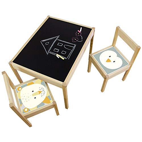 Limmaland Kreidefolie Ideenreich passend für deinen IKEA LÄTT Kindertisch (Pinguin/Löwe) - Möbel Nicht inklusive