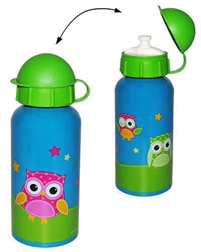 """Trinkflasche - """" lustige Eulen """" - aus Aluminium 400 ml - auslaufsicher Edelstahl - für Kinder Aluflasche - Flasche Mädchen & Jungen - Tiere - Eule blau - Fahrradflasche / Wasserflasche Ast & Sterne"""