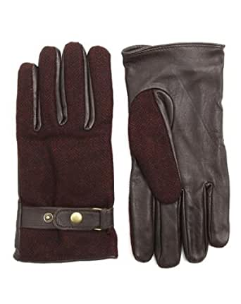 SCOTCH AND SODA - Gloves - Men - Burgundy Wool and Leather Gloves - L