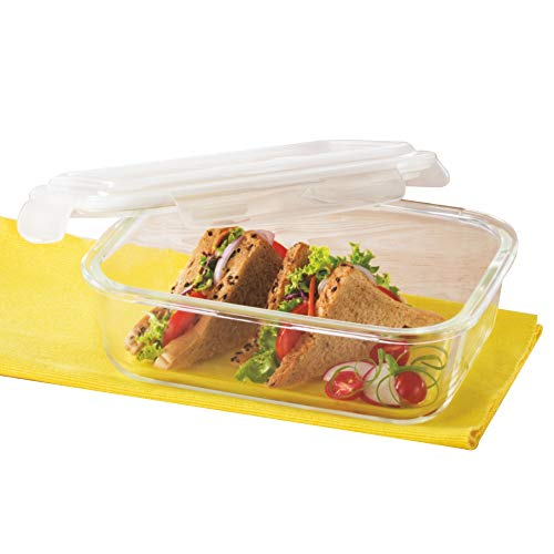 Borosil Klip N Store Glass Food Container, 1.5 L Rectangle, for Kitchen Storage with Air Tight Lid - Microwave Safe