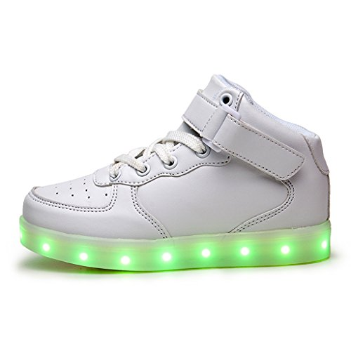 Led Chaussure Lumineuse - Enfant Gar?on Fille - USB Rechargeable - DoGeek Blanc