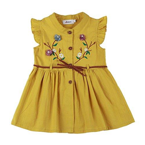 (Sommerkleid 100% Baumwolle Baby Mädchen Pfirsichblüte Stickerei Knopf Eleganz ärmelloses Outfit mit Bund)