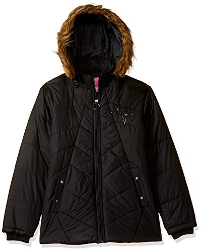 Qube By Fort Collins Girl's Quilted Regular fit Jacket (1192AZ_Black_30)
