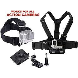 LONDON FAB Arneses para cámaras de acción, compatibles con GoPro y Todas Las cámaras de acción (arnés de Pecho + arnés de Cabeza)