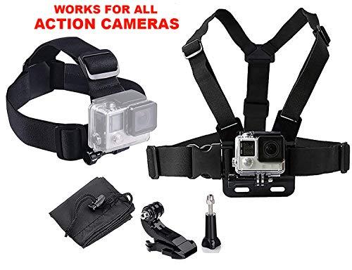 LONDON FAB Sangles de caméra d'action, compatibles avec Toutes Les caméras Gopro et d'action (Harnais de Poitrine + Harnais de tête)