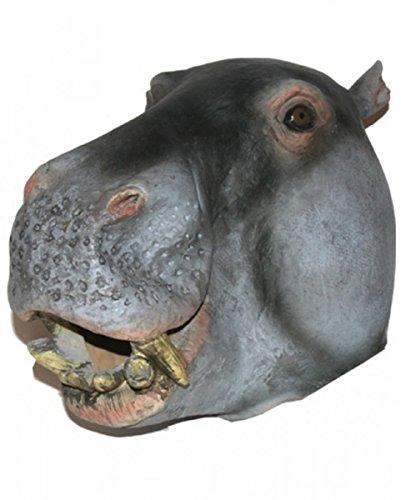 e Nilpferd für Fasching und Karneval (Latex Maske Nilpferd)