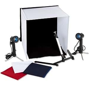 TecTake® Fotozelt Lichtwürfel Fotostudio + 4 Hintergründe + 2 Leuchten Photostudio