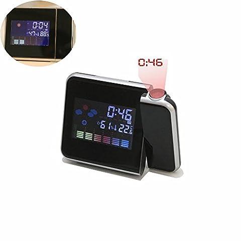 Zqmd 180degrés de rotation fonction Time, Creative Horloge de projection, Projection écran couleur LCD écran Température et humidité météo écran