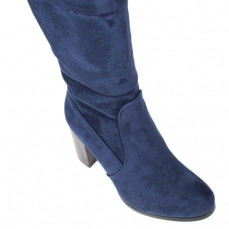 Ideal Shoes - Cuissardes effet daim avec bande élastique à l'arrière Velleda Marine