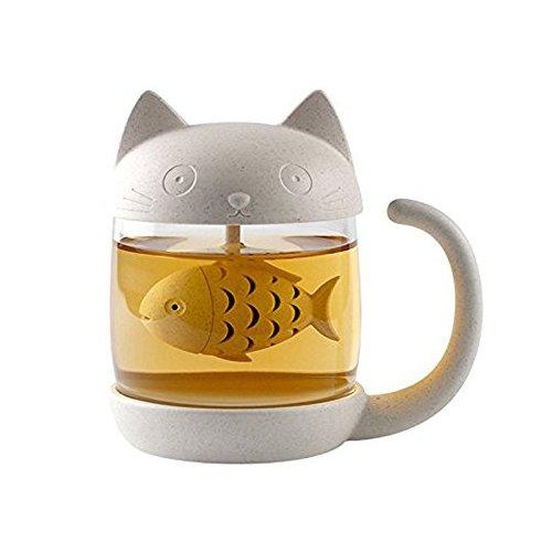 OFKPO 250ML Glas Tee Mug,Niedlich Katzen Wasser Mug mit Sieb Filter,Weihnachten/Geburtstag Geschenk - Wasser-filter-tee