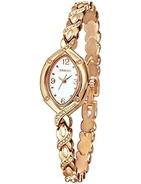 Time100 Armbanduhr Damen Edelstahl Ovale Shell Analog Quarz Rosegold #W50170L.02A