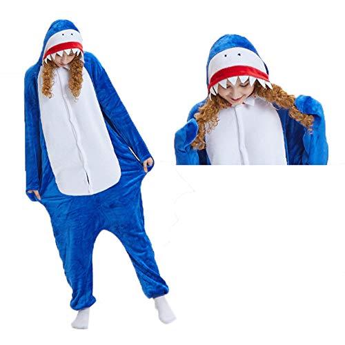 ZHANGZHIYUA Tierkostüme Unisex Cosplay Shark Plüsch Pyjamas,S