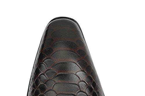 Herren Echt Leder Krokodil Haut Effekt rot blau Mönch Schuhe rutschfest auf Smart-Slipper Coffee