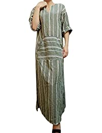 7997ca98c3 Xmiral Women Dress Plus Size Cotton Fashion Striped Long Sleeve V-Neck  Kaftan Ankle-