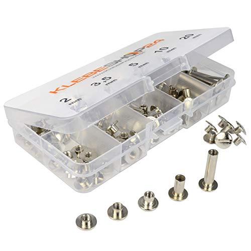 Klebeshop24 Buchschrauben Set   Sortimentsbox mit 5 verschiedenen Größen   2 bis 20 mm Füllhöhe   Vernickelt