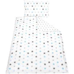 TupTam Kinder Bettwäsche Gemustert 2-Teilig, Farbe: Sterne Grau/Blau, Größe: 135x100 cm