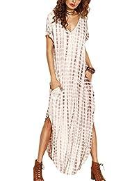 Zilcremo Mujer Verano Bohemios Maxi Vestidos Tie Dye De Hendidura Largos Vestidos Playa del Algodón