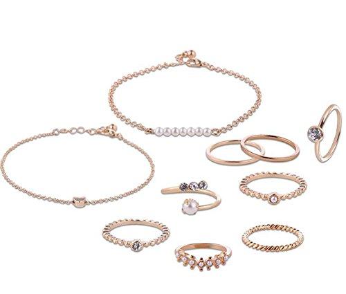 n Schmucksachen Satz Weiblich Ring Armband Fußkettchen Kette Kombi Set Legierung Mode Armband ()