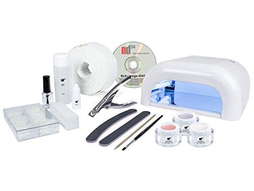 Nageldesign STARTER-SET BASIC + 4-Röhren-Lichtgerät weiß + Premium UV-Gel MADE IN GERMANY + Tips + Feilen + Pinsel + Schulungs-DVD + Zubehör - Nagelstudio Starter-Set BESTSELLER