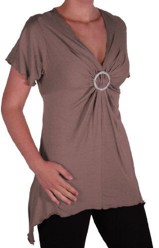 EyeCatch Plus - Haut manches courtes asymétrique stretch - Solange - Femme - Plusieurs Tailles et Couleurs Moka