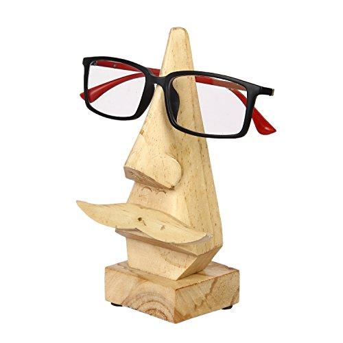 Aheli Handgefertigter Brillenhalter aus Kiefernholz in Nasenform mit Schnurrbart