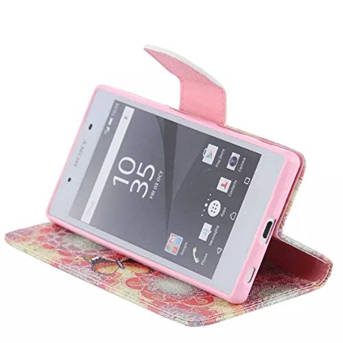 Ooboom® Sony Xperia Z5 Coque PU Cuir Flip Housse Étui Cover Case Wallet Portefeuille Fonction Support avec Porte-cartes pour Sony Xperia Z5 - Don't Touch My iPhone Papillons