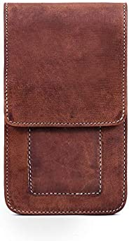 """Goatter Real Leather 6.5"""" Inch Dual Mobile Cover with Card Wallets,(Brown) Big"""