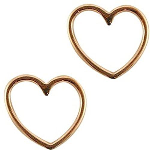 Sadingo DQ Metallanhänger, Schmuckverbinder Herz - 2 Stück - 15x16 mm - Damen-Charm-Anhänger - Armband selber Machen, Farbe:Roségold