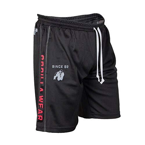 Gorilla Wear Functional Mesh Short Black/Red - schwarz/rot - Bodybuilding und Fitness Short für Herren, Schwarz / Rot, Large / X-Large - Herren Schwarz Mesh Short