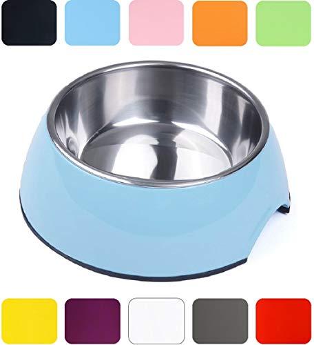 DDOXX Fressnapf | Futternapf | Melamin | Edelstahl | für große, mittelgroße, Mittlere & Kleine Hunde, Katzen, Hamster, Welpen | NAPF Hund Katze | Hundenapf | Katzennapf | Blau, 700 ml