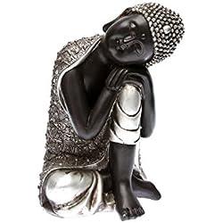 Statuette de Bouddha Assis de côté - Hauteur 28 cm - Décoration Zen