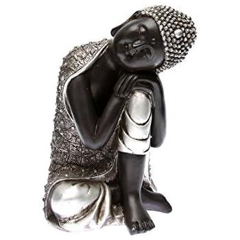 Statue Bouddha Statuette Boudha assis argent vieilli hauteur 25 cm