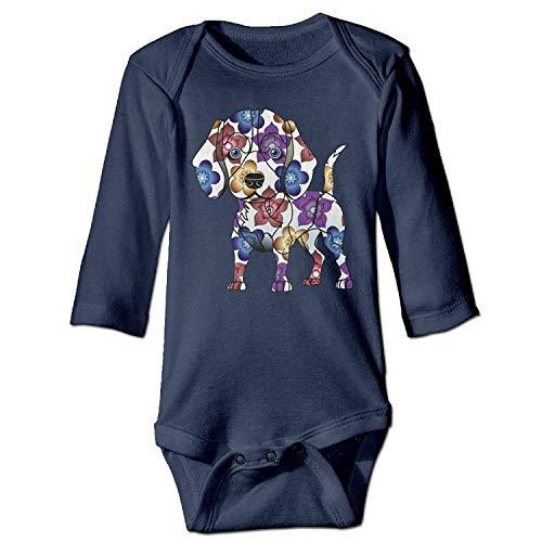 MSGDF Unisex Infant Bodysuits Beagle Baby Babysuit Long Sleeve Jumpsuit Sunsuit Outfit Navy -